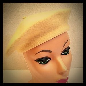 Vintage yellow wool beret hat cap retro spring